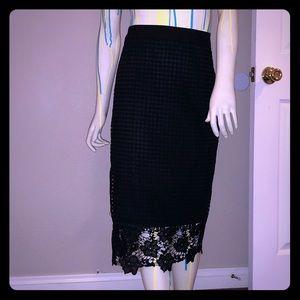 Black Midi Pencil Skirt w/ Crochet Floral Overlay